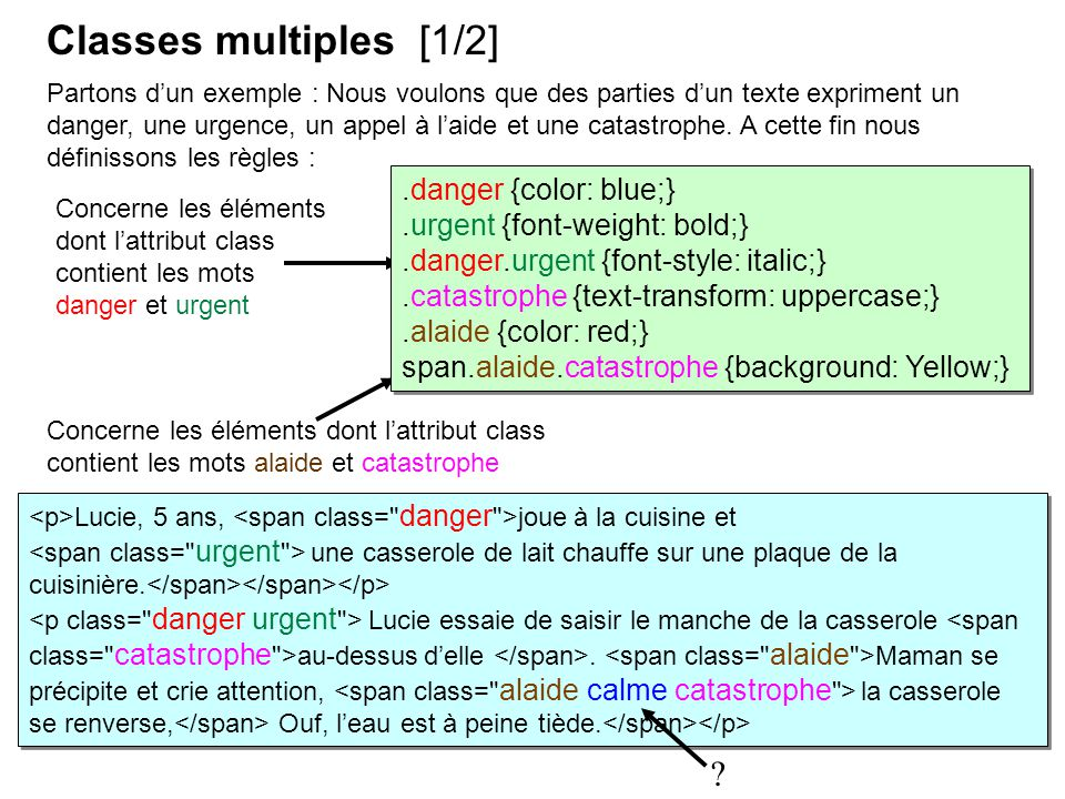 Classes multiples [1/2] .danger {color: blue;}